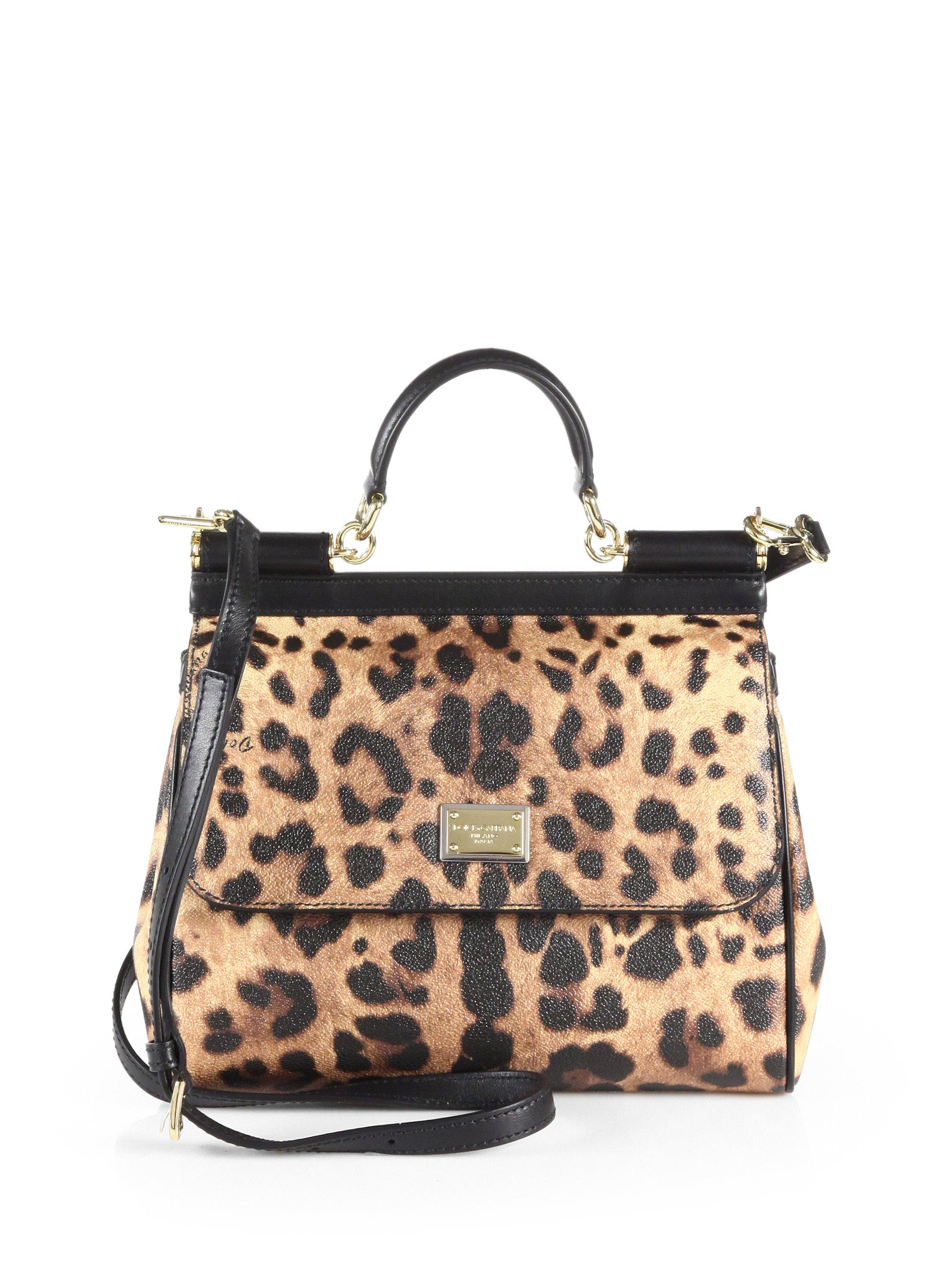 96455eefd3d Dolce   Gabbana Regular Sicily Bag In Leopard Textured Leather - Lyst