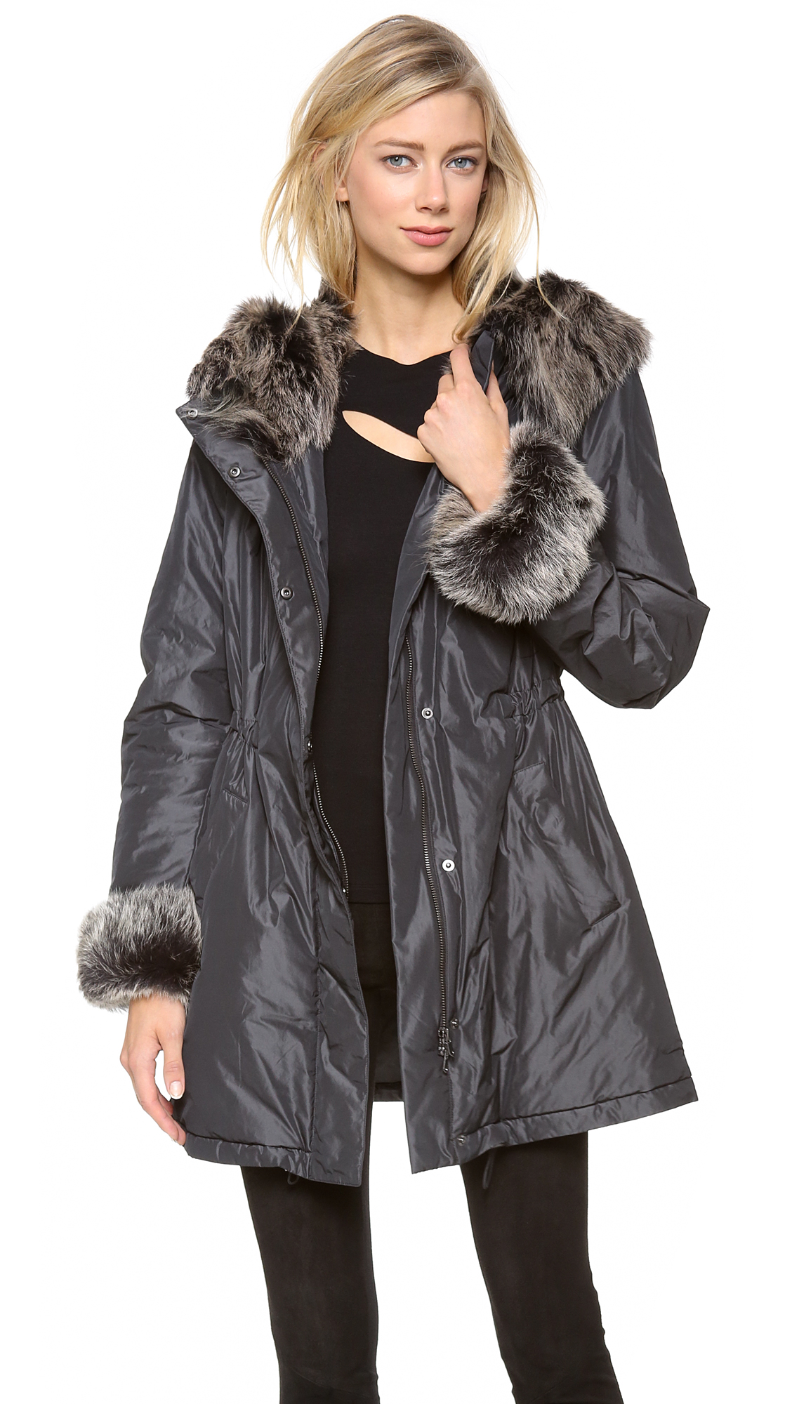 Donna Karan Parka With Shearling Hood In Gray Lyst