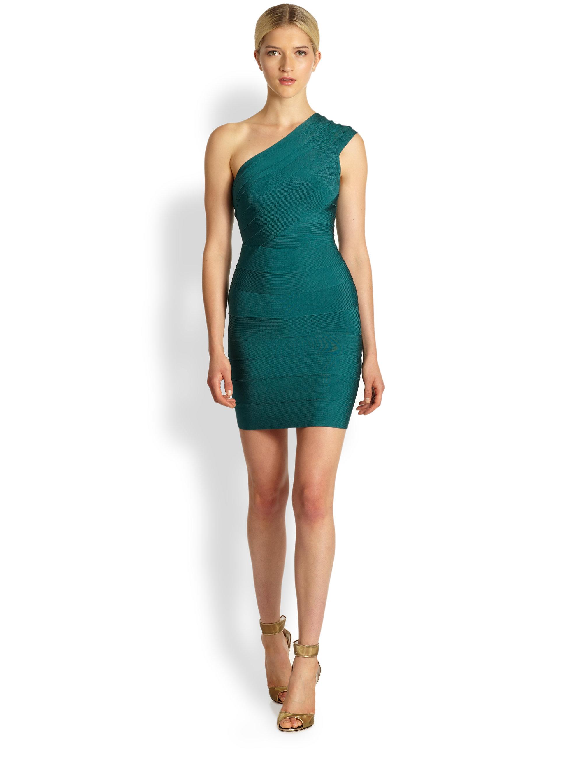 Herv 233 L 233 Ger One Shoulder Bandage Dress In Deep Teal Green