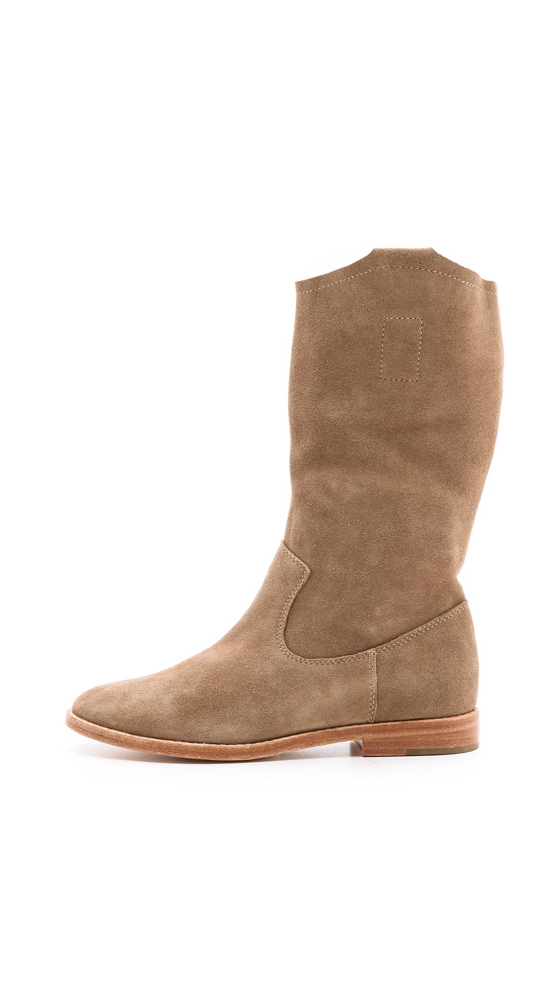 joie ogden flat suede boots in brown lyst