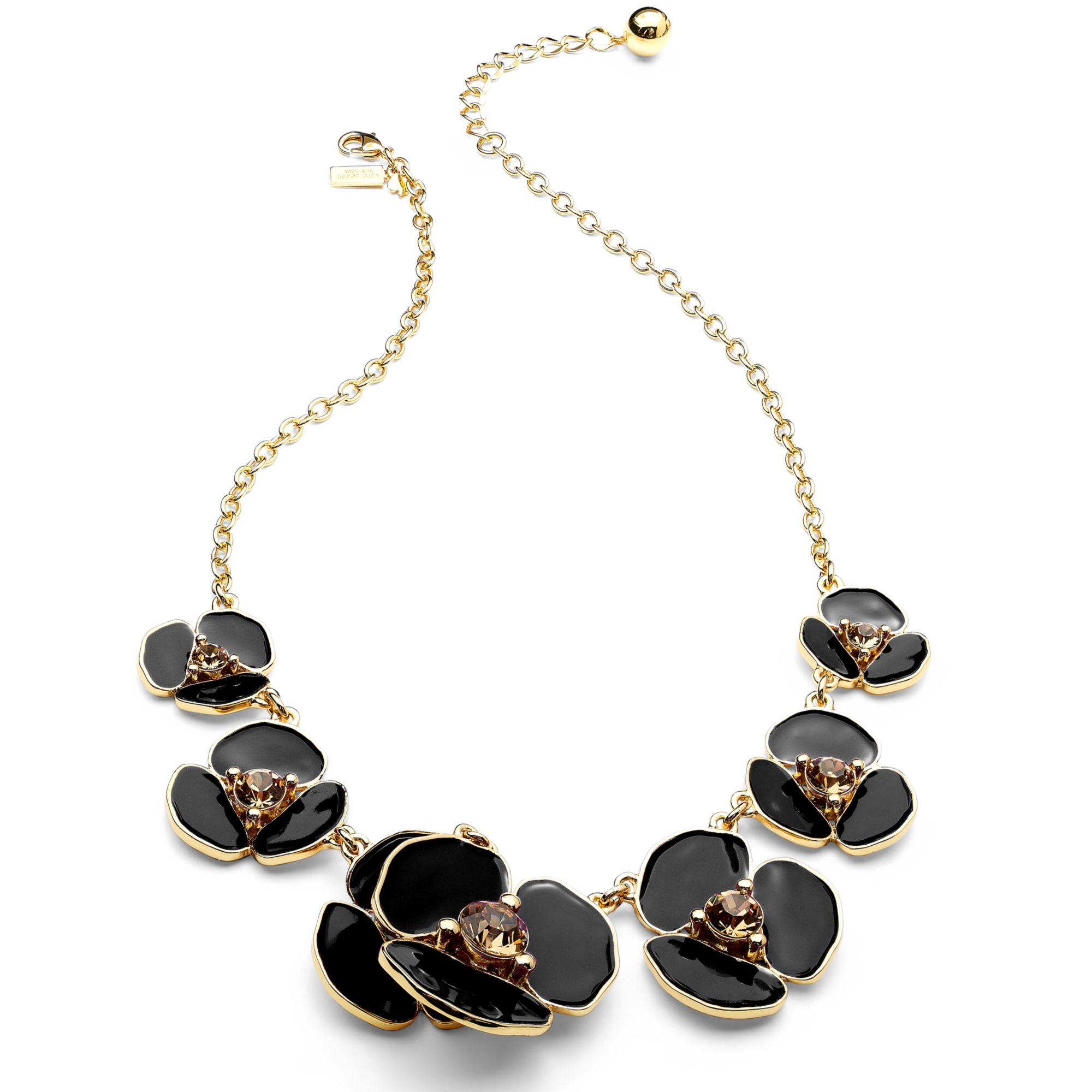 2536a0a78829f kate spade new york Multicolor New York Necklace 12k Gold Plated Disco  Pansy Black Graduated Necklace