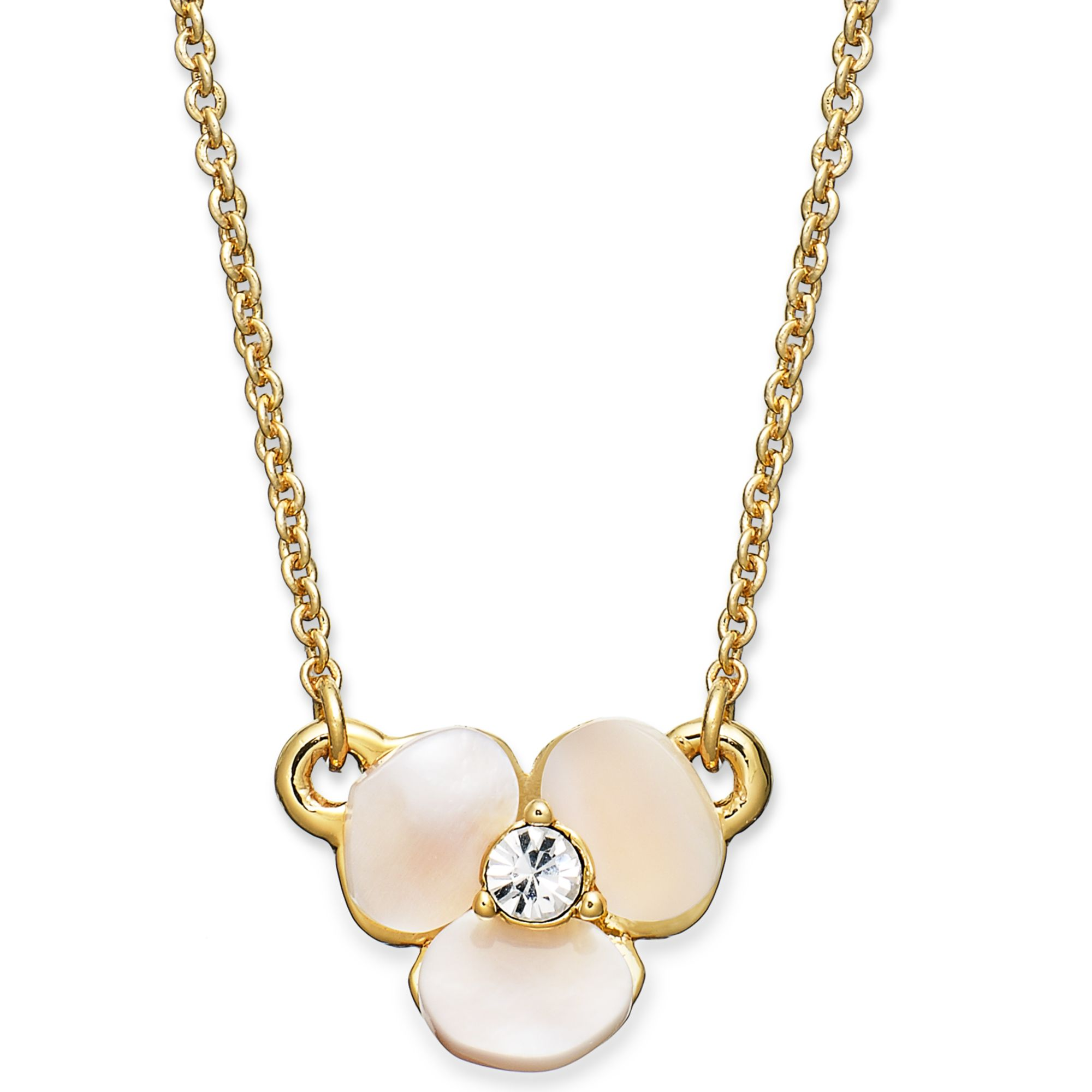 d166dc16f90e1 Kate Spade Metallic Disco Pansy Mother-of-pearl Mini Pendant Necklace