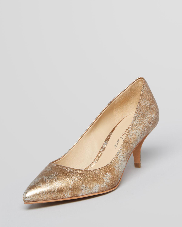 Lyst - Kenneth cole Pointed Toe Pumps Mirror Kitten Heel in Metallic