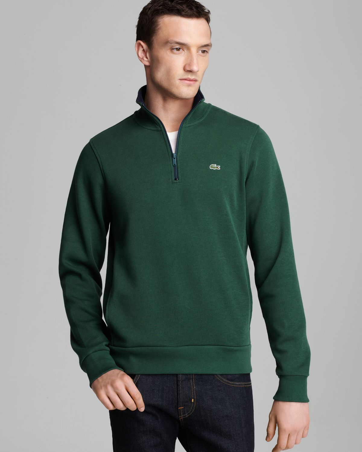 Lacoste Halfzip Pullover Sweater in Green for Men | Lyst