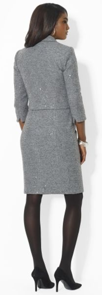 Fall Sheath Dresses With Jackets In Gray Sheath Dress Jacket in