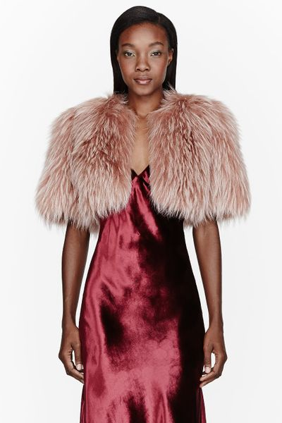 Marc Jacobs Dusty Rose Fur And Silk Bolero In Pink Rose