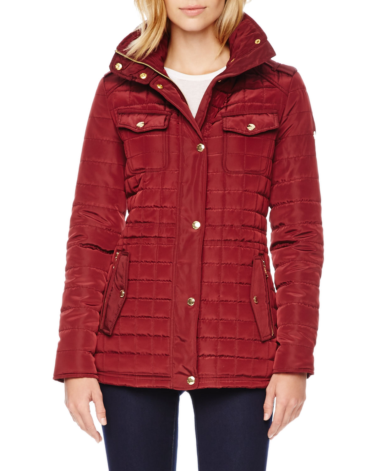 michael kors michael quilted puffer jacket in red lyst. Black Bedroom Furniture Sets. Home Design Ideas