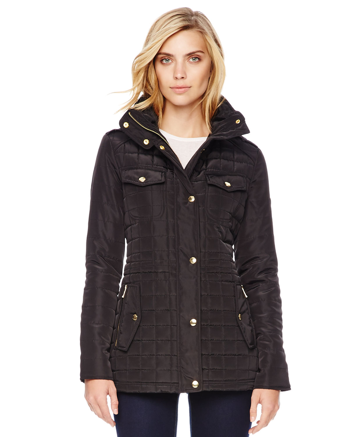 michael kors michael quilted puffer jacket in black lyst. Black Bedroom Furniture Sets. Home Design Ideas