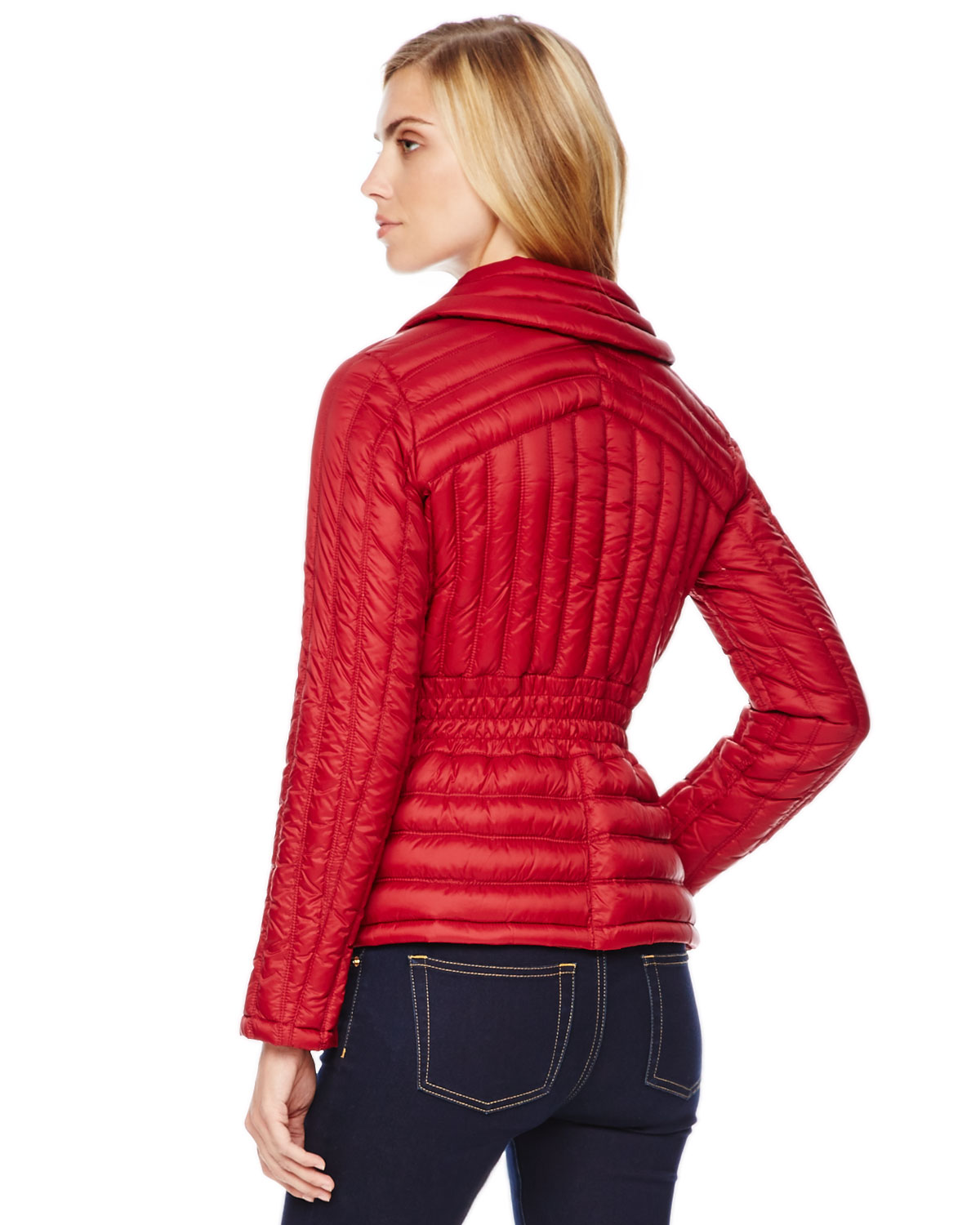 michael kors michael nipped puffer jacket in red lyst. Black Bedroom Furniture Sets. Home Design Ideas