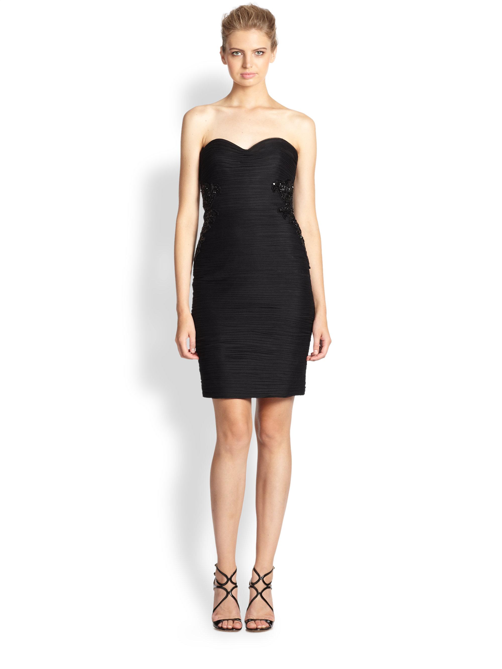 ML Monique Lhuillier Strapless Ruched Cocktail Dress in Black