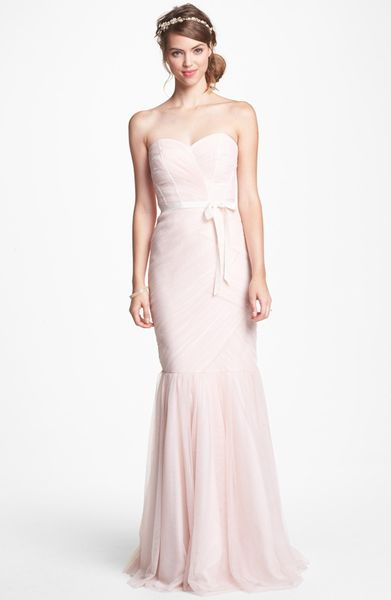 Ml Monique Lhuillier Bridesmaids Tulle Trumpet Dress In