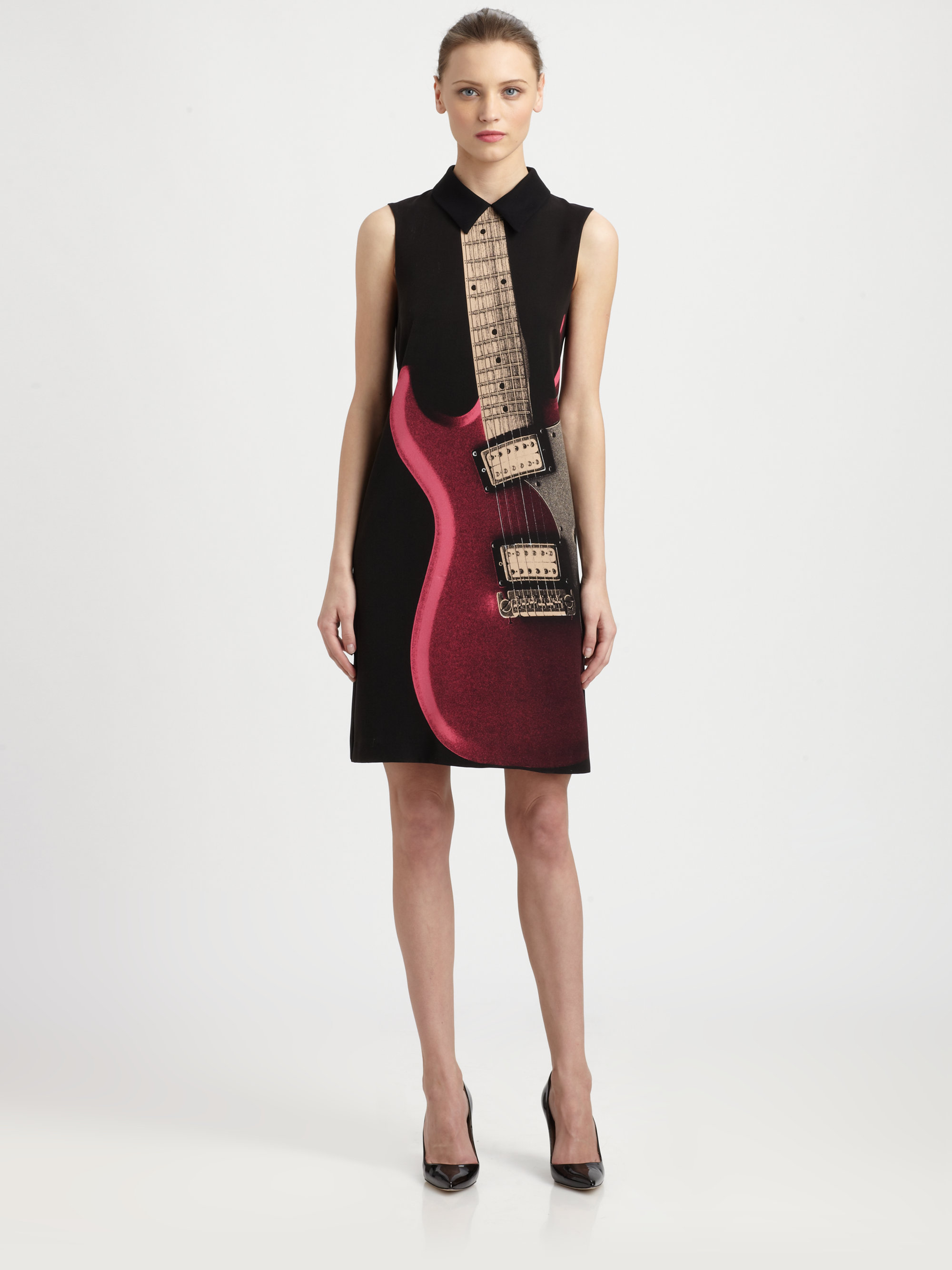 Lyst Boutique Moschino Guitar Print Dress In Black