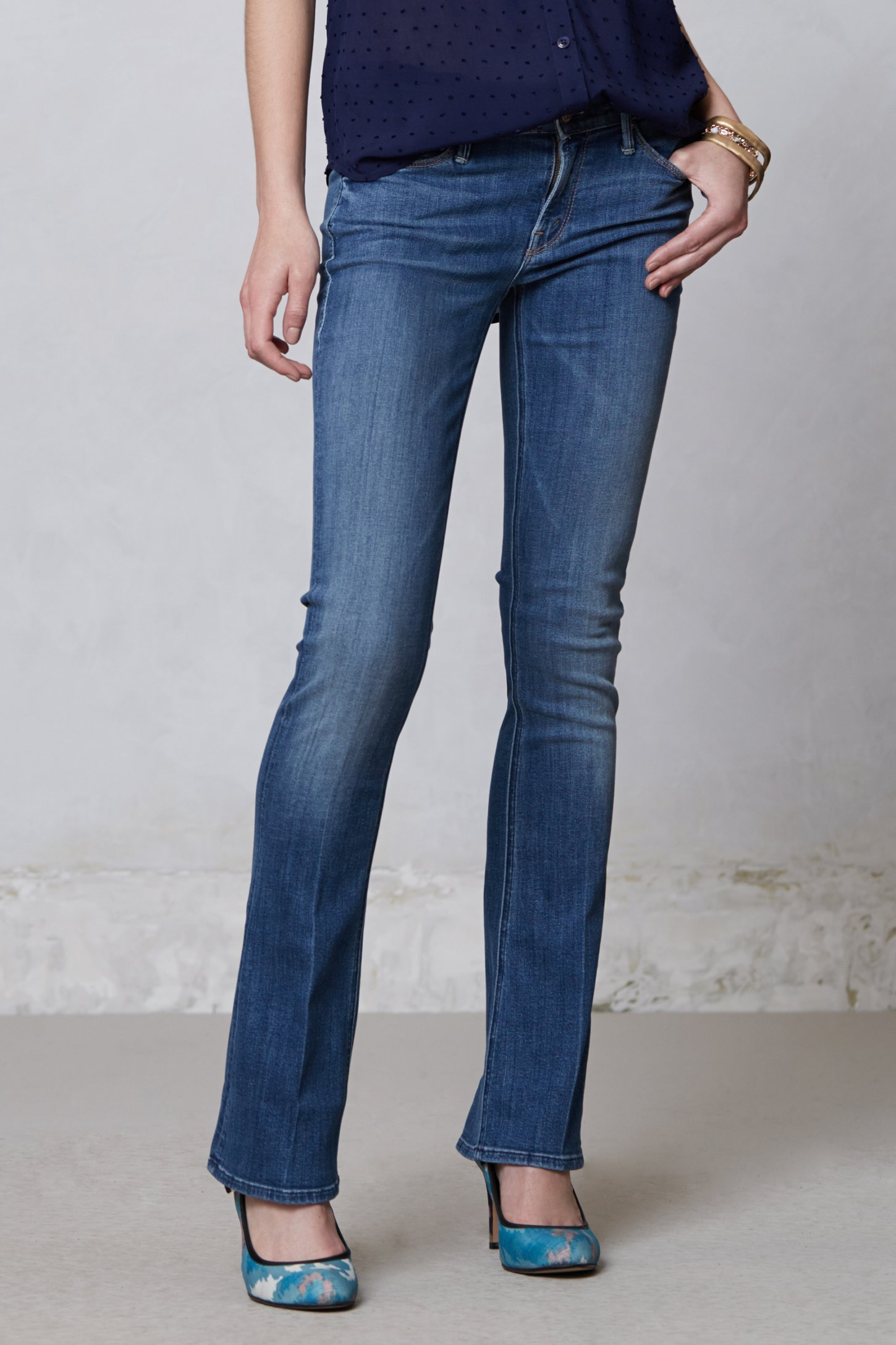 Mother Runaway Skinny Flare Jeans in Blue | Lyst