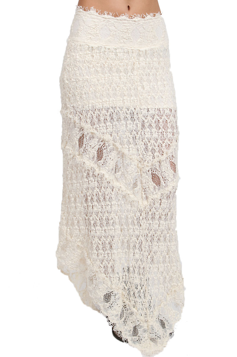 nightcap florence lace maxi skirt in white ivory lyst