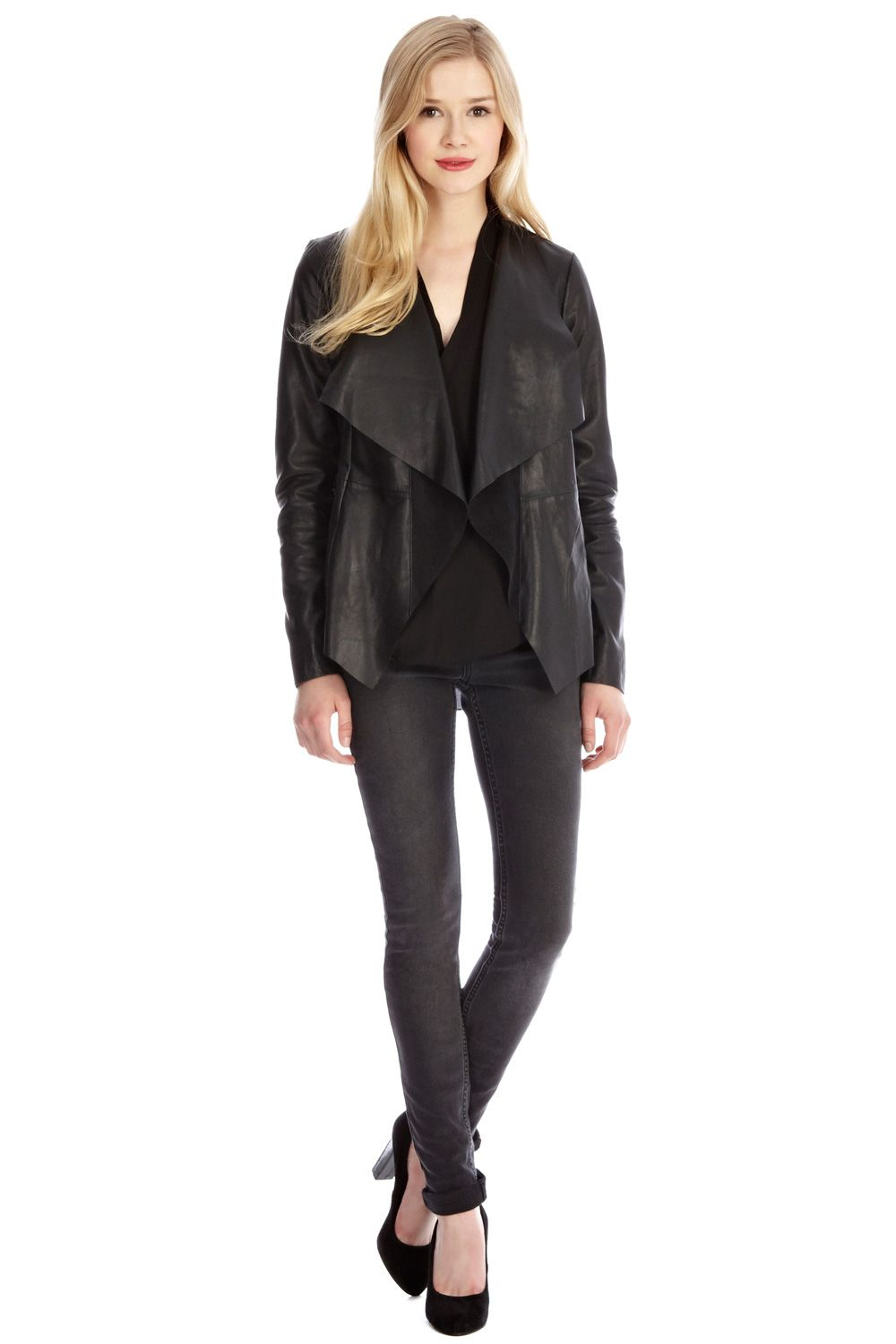 Oasis Waterfall Leather Jacket in Black | Lyst