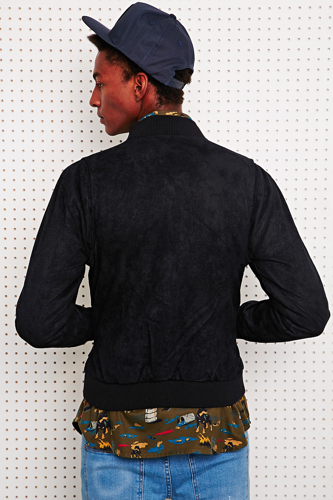 Obey Marcade Faux Suede Bomber in Black for Men