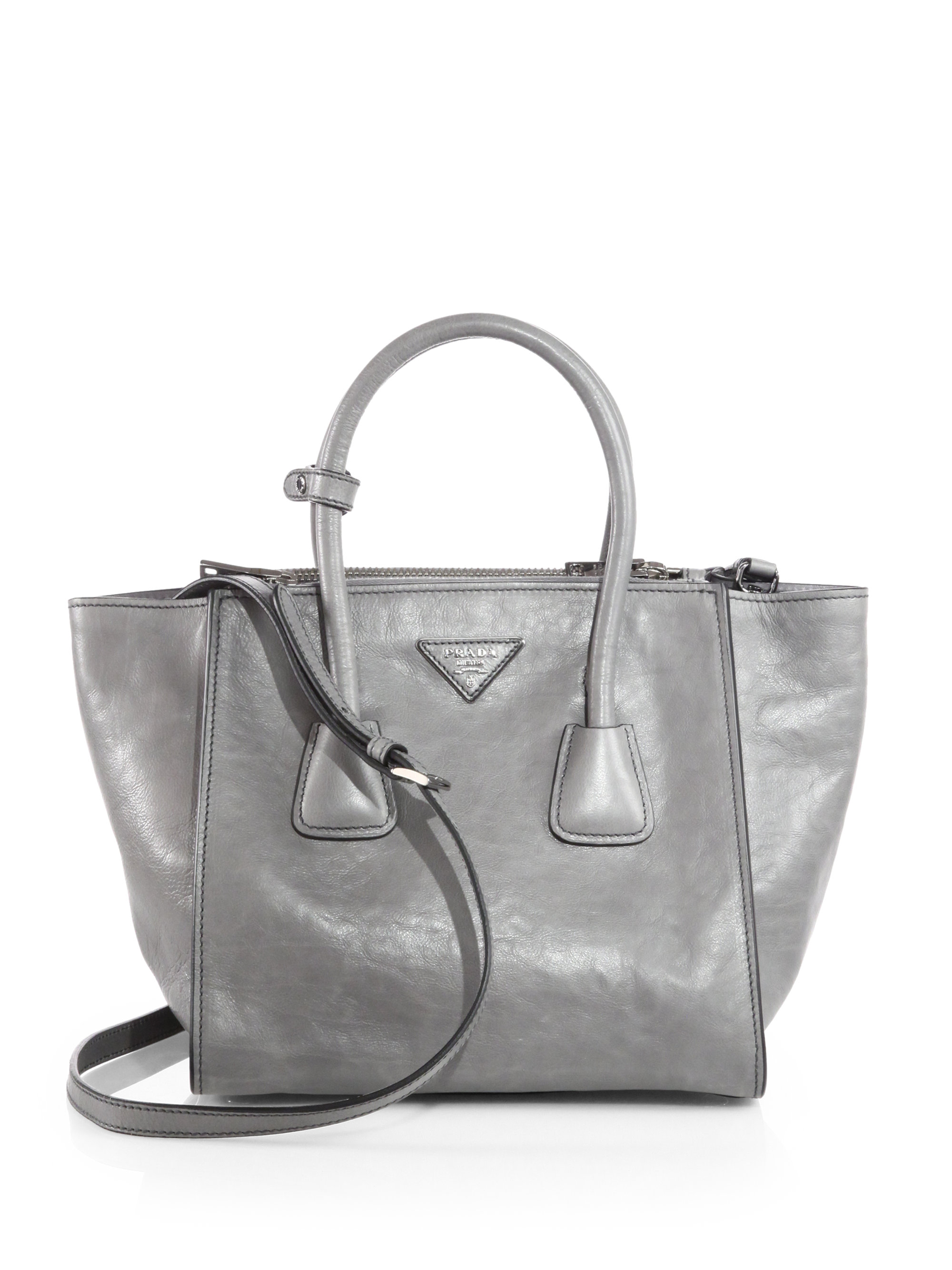 4f14ee1a9932 ... get prada glace calf small twin pocket tote in gray lyst f8023 95746