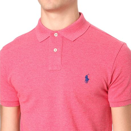 Ralph Lauren Slimfit Mesh Polo Shirt In Pink For Men