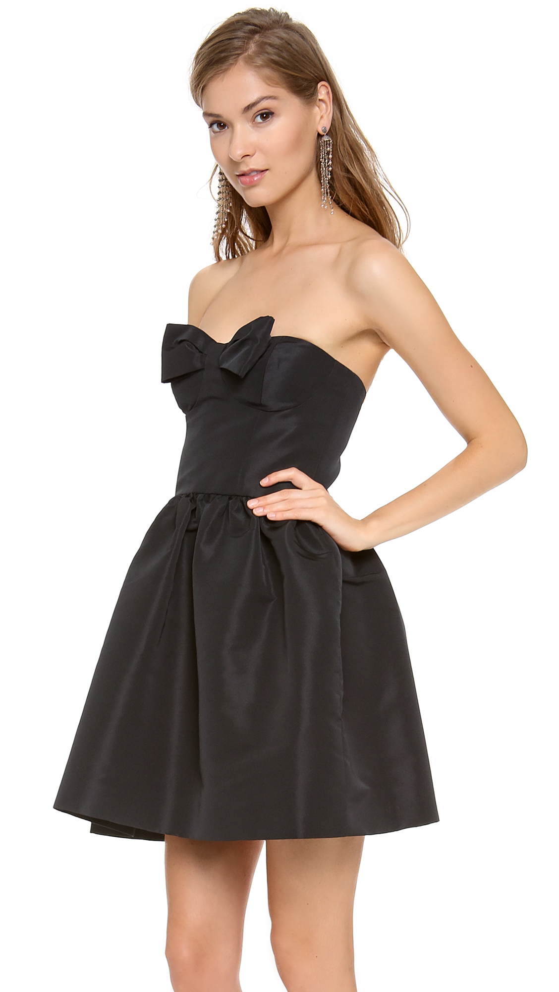 lyst red valentino strapless bow mini dress in black