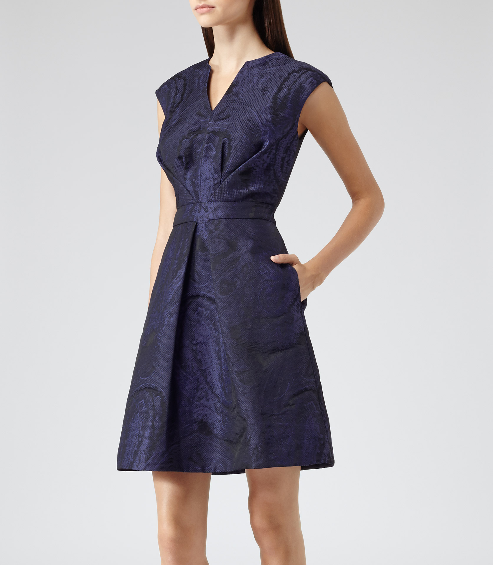 Reiss Evie Nipped Waist Jacquard Dress In Blue Lyst