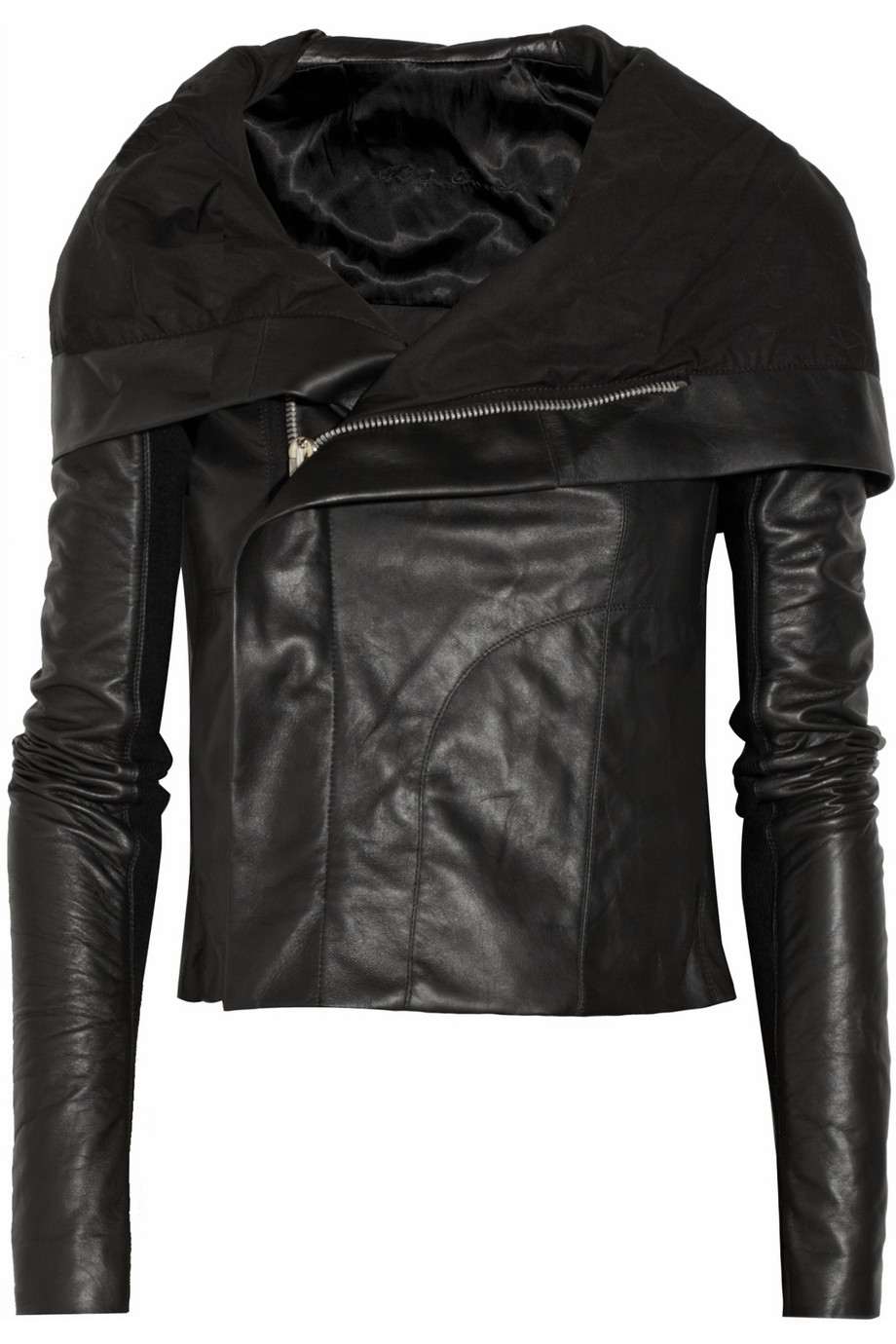 Rick owens Hooded Leather Biker Jacket in Black | Lyst