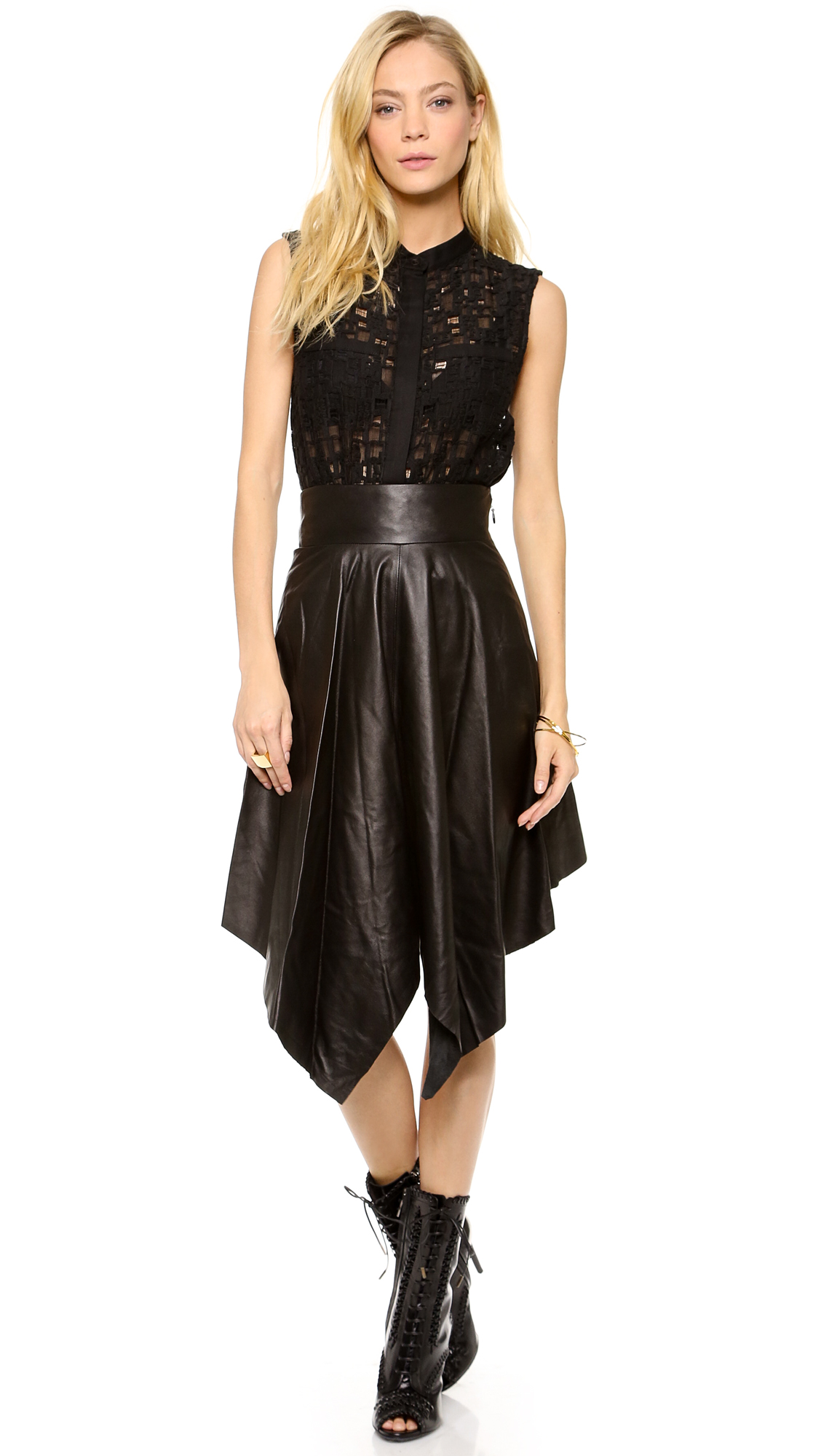 robert rodriguez handkerchief leather skirt in brown