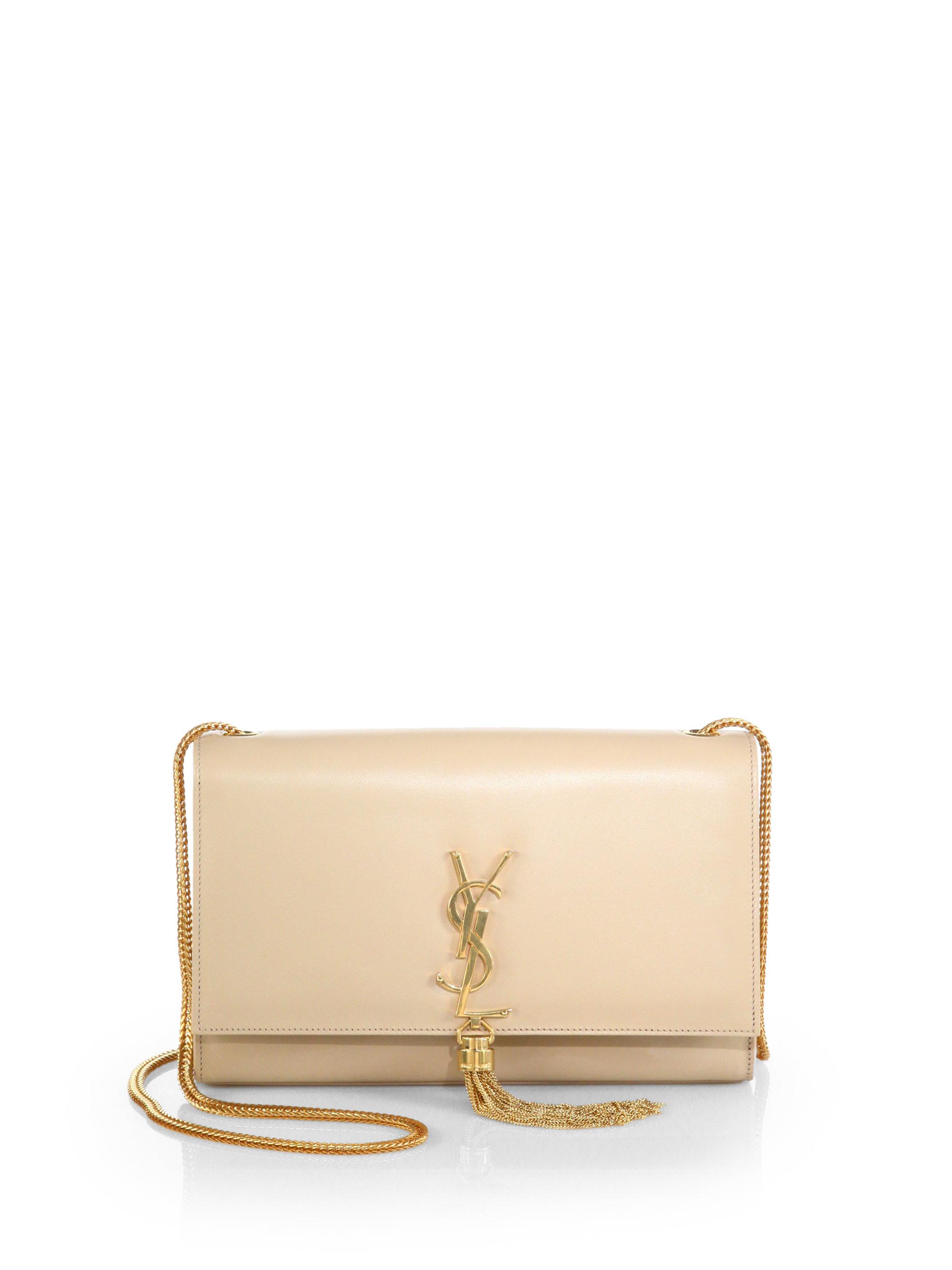 96eadaa8f68 Saint Laurent Cassandre Tassel Shoulder Bag in White - Lyst