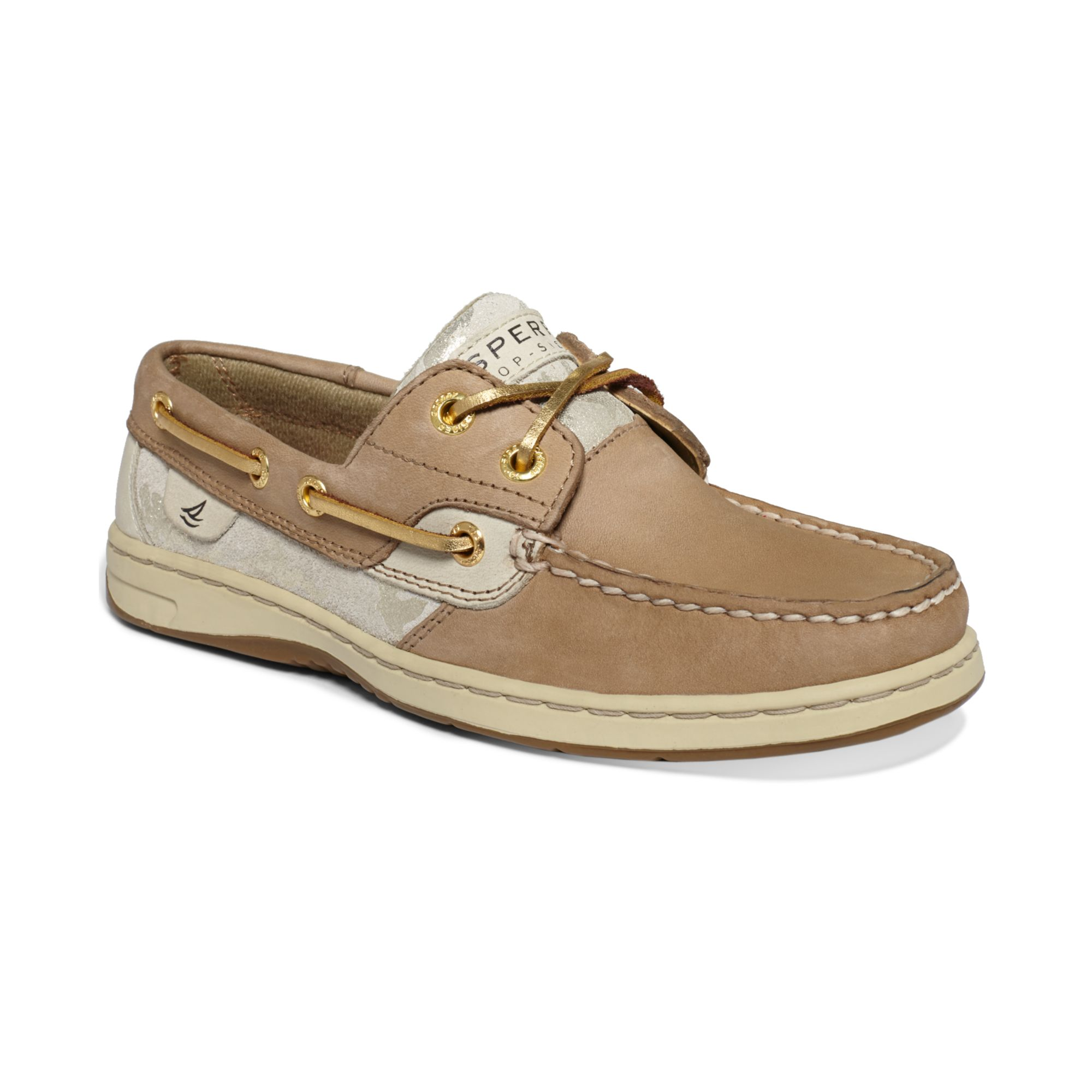 sperry top sider bluefish boat shoes in brown linen gold