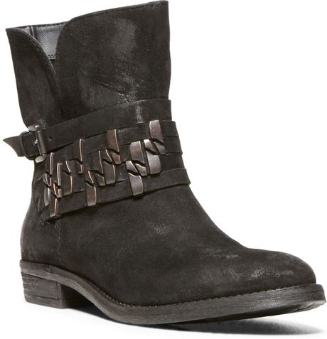 Steven By Steve Madden Tracker Moto Booties in Black (Black Distressed Leather)
