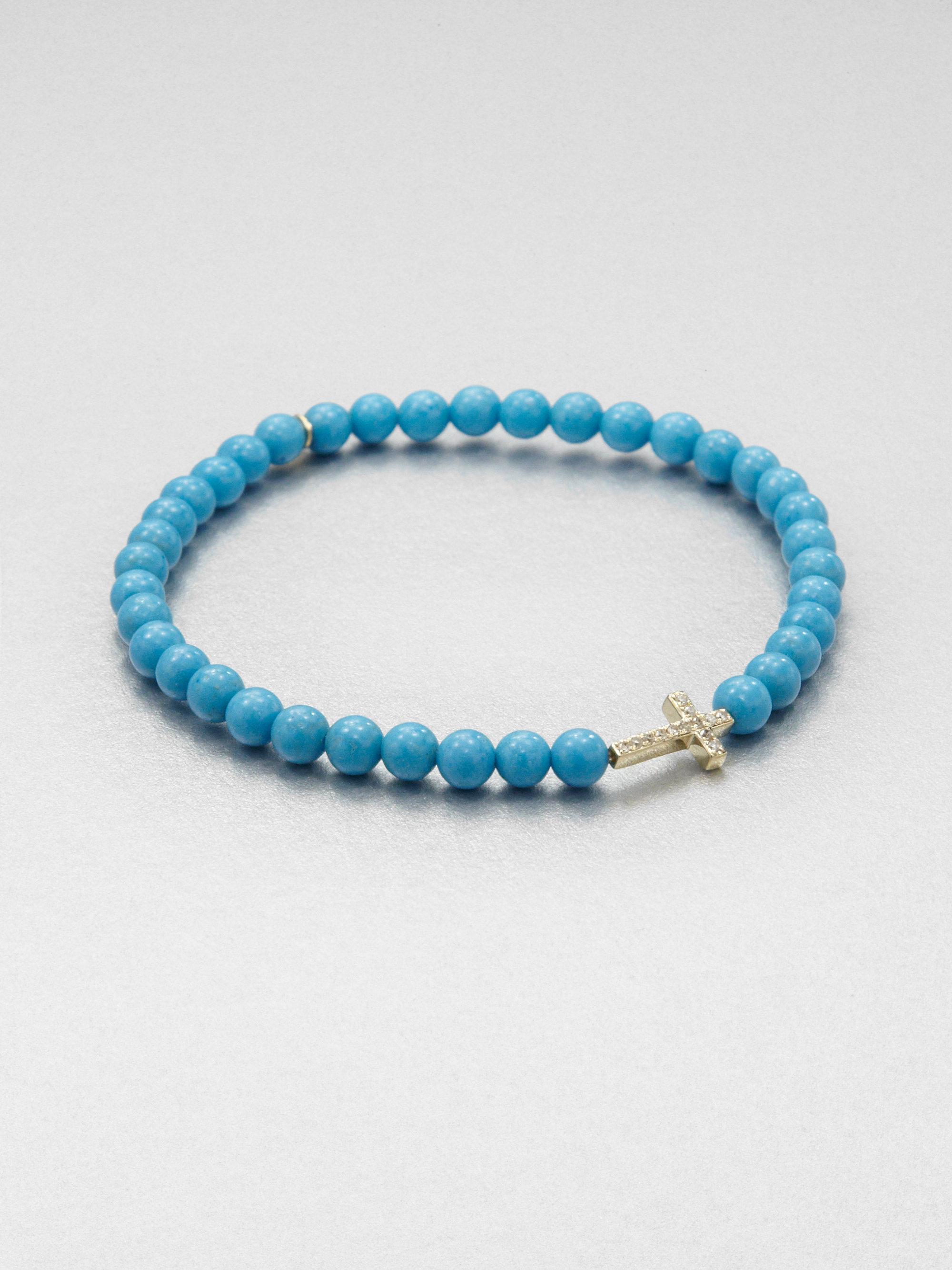 Sydney Evan 4mm Turquoise Beaded Bracelet with Rainbow Eye Charm RY3ey
