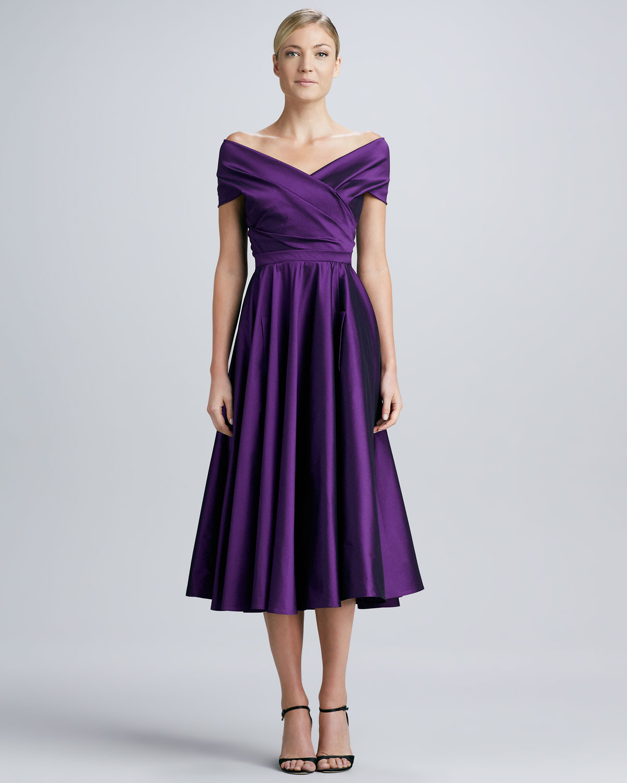 Talbot Runhof Offtheshoulder Wrap Dress In Purple