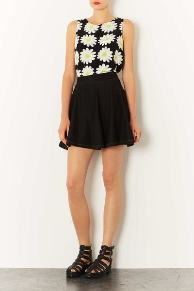 topshop high waisted denim look skater skirt in black lyst
