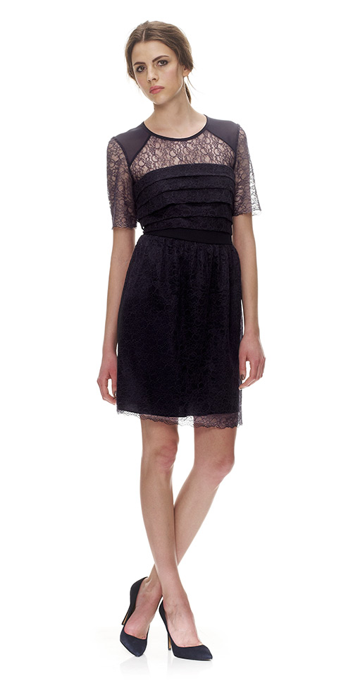 Whistles Narcisse Lace Short Sleeve Dress In Blue Navy