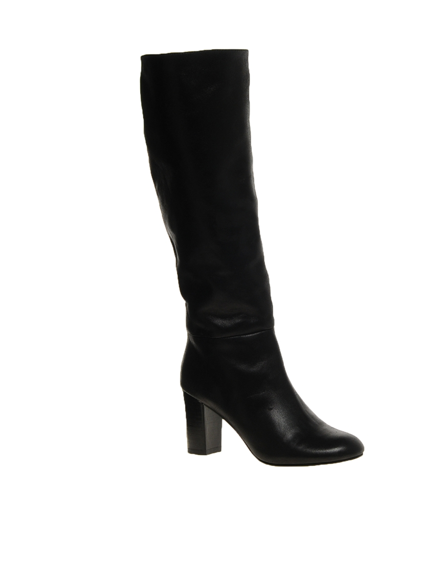asos cooper leather knee high boots in black lyst