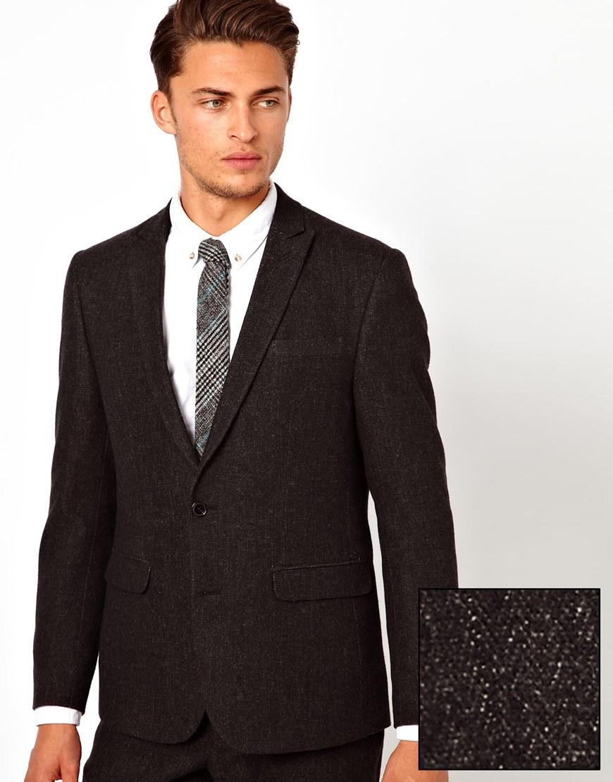 Asos slim fit suit jacket in herringbone in black for men lyst
