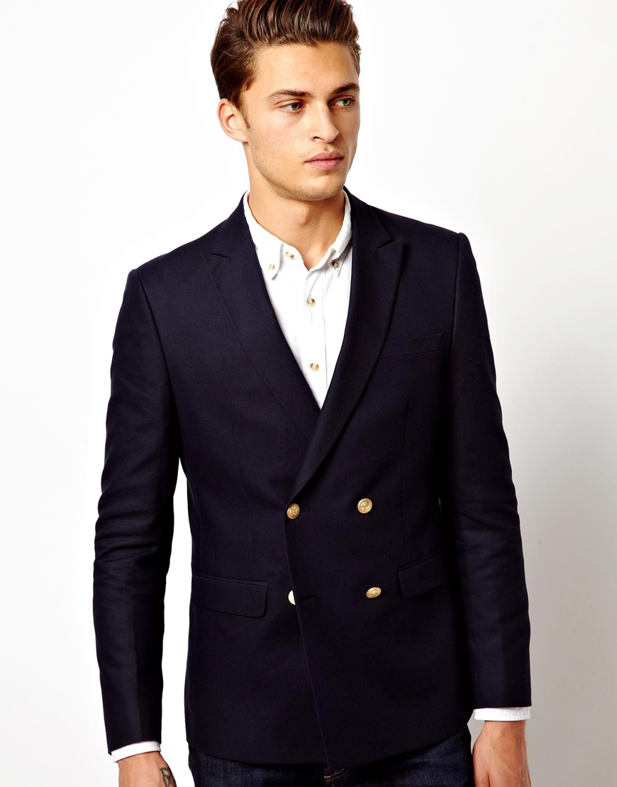 asos black slim fit double breasted blazer with gold buttons for men. Black Bedroom Furniture Sets. Home Design Ideas