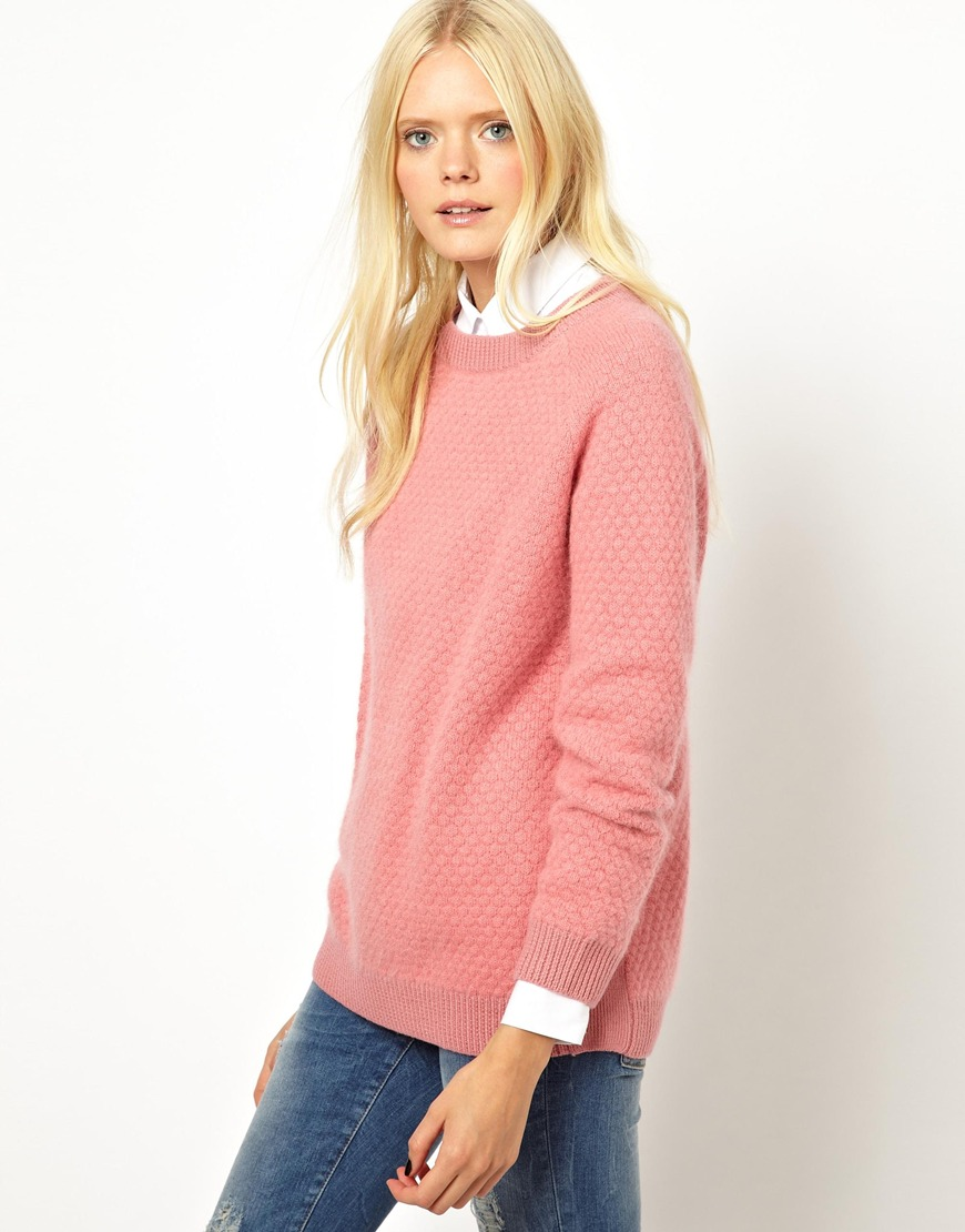 Asos Angora Sweater in Waffle Knit in Pink | Lyst