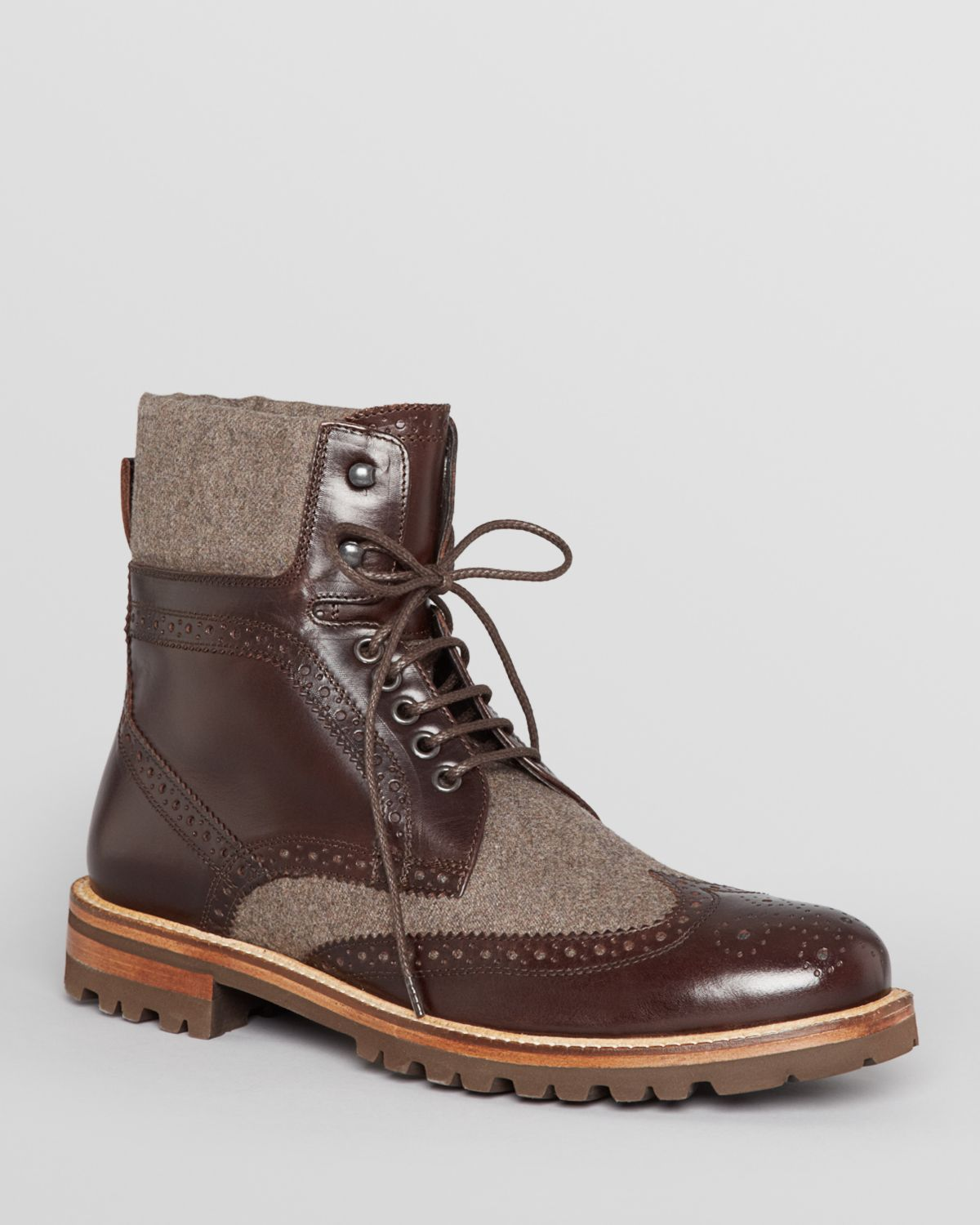 bruno magli paciano wingtip boots in brown for lyst