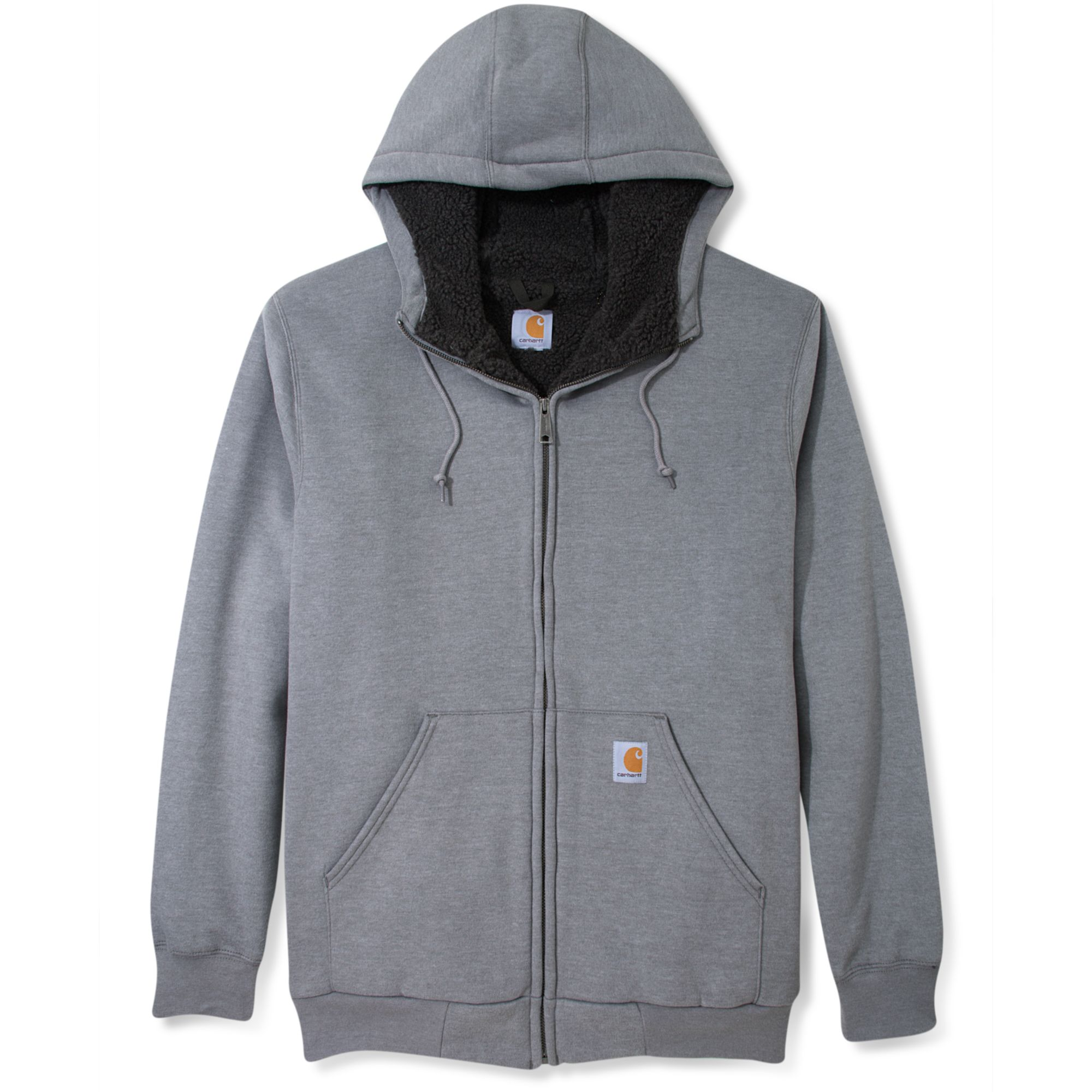Carhartt brushed fleece zip front sherpa lined hoodie in for Zip front flannel shirt