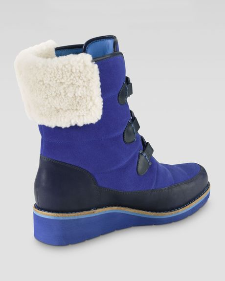 cole haan lania weatherproof suede boot blue in blue
