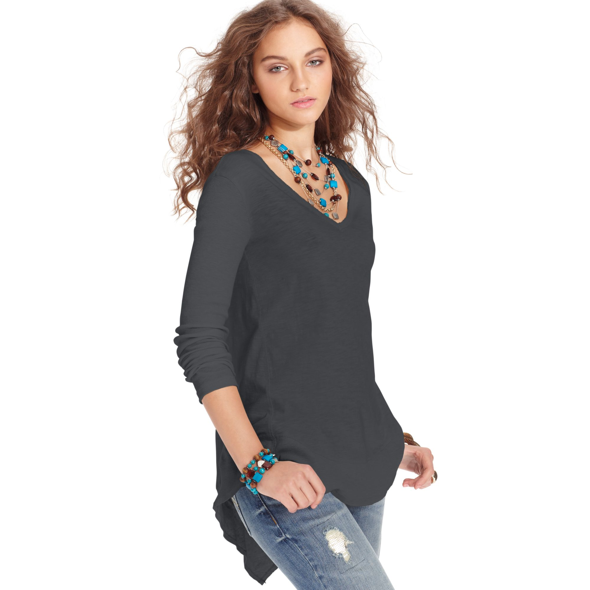 Free People Long Sleeve V-Neck High Low Top In Black