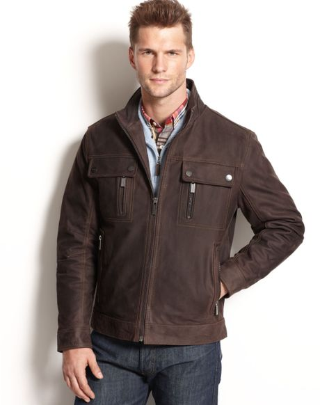 Michael Kors Lowell Four Pocket Leather Moto Jacket in Brown for Men (Dark Brown)