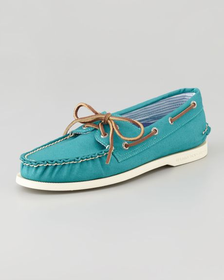 Sperry Top-sider Canvas Boat Shoe Teal in Blue (7