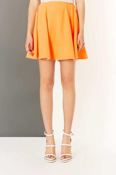 topshop bright orange crepe skirt in orange fluro orange