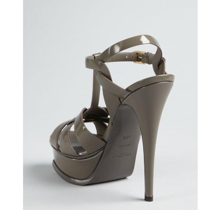 665d21c47f7 Saint Laurent Earth Patent Leather Tribute Platform Sandals in Gray ...