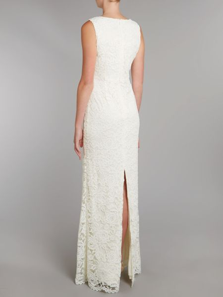 Adrianna Papell V Neck Lace Gown In White Ivory Lyst