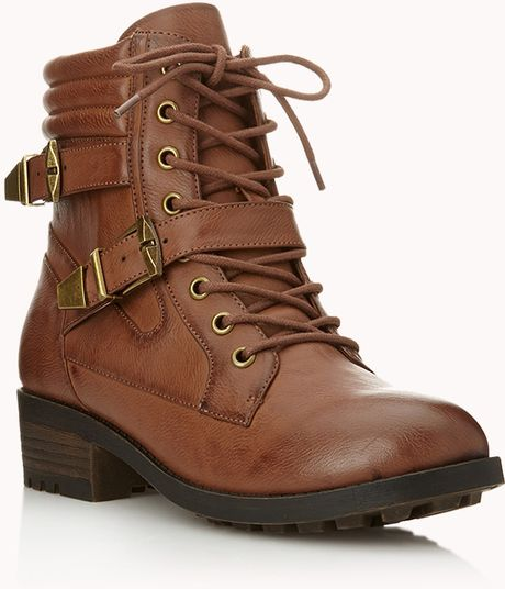 Forever 21 Edgy Hiking Boots In Brown Lyst