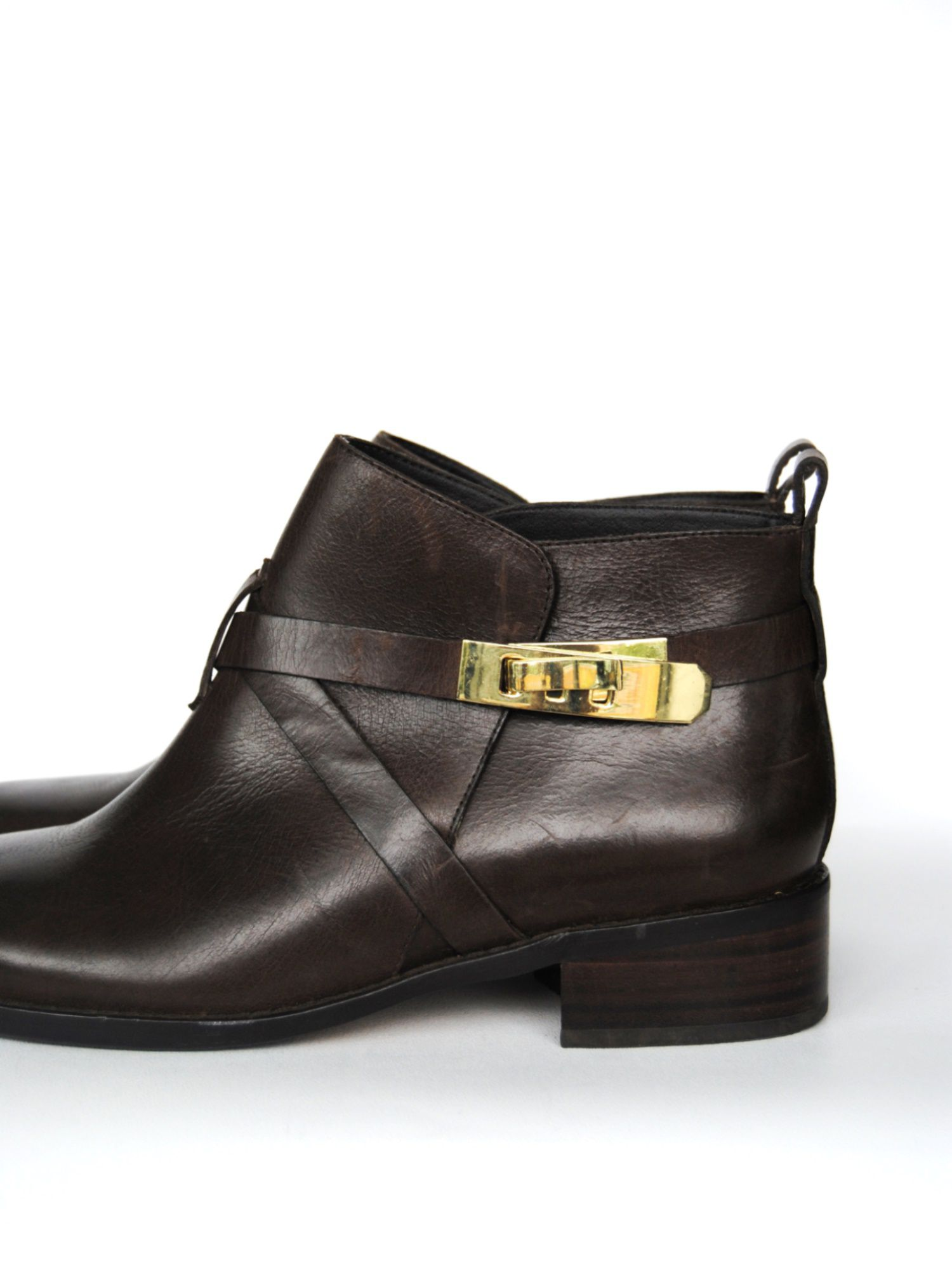 French Connection Leather Yuri Chelsea Boots in Brown (Black)