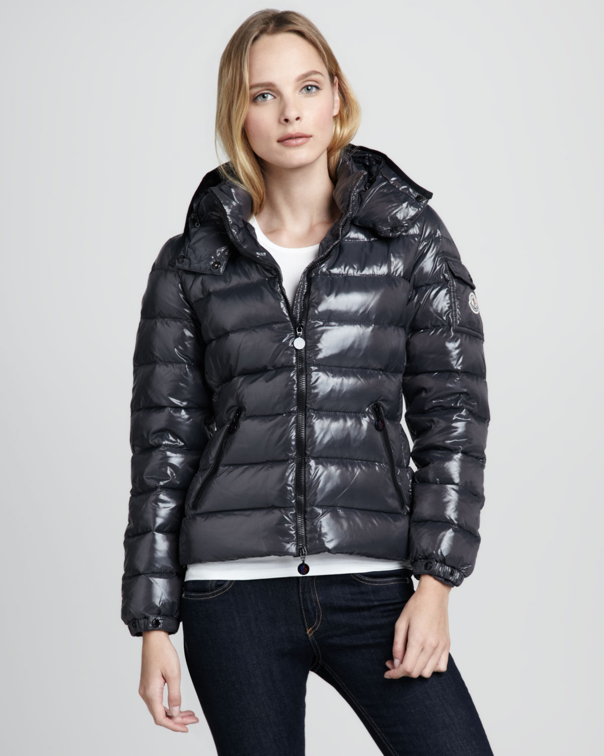 moncler bady short puffer jacket gray in black lyst. Black Bedroom Furniture Sets. Home Design Ideas