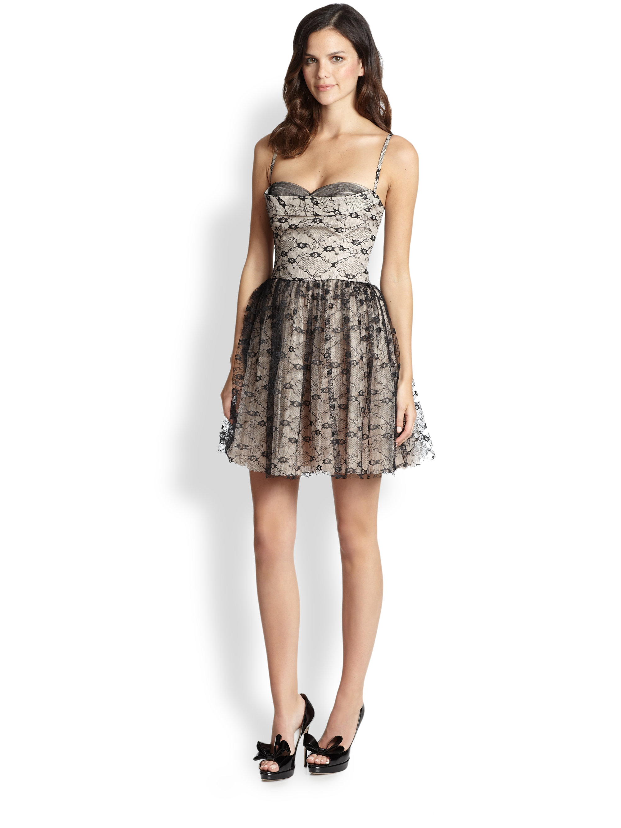 Lace Tulle Flared Dress